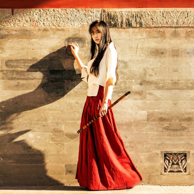 Hanfu Costume Black Long Skirt Chinese Clothes Summer High Waist Red Cotton Linen Retro Maxi Skirt