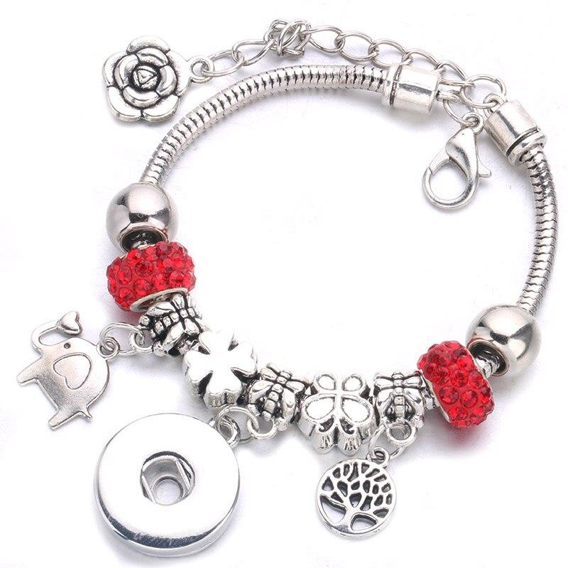 Nouveau argent plaqué bricolage bouton pression Bracelet pendentif chaîne en cristal avec 18mm bouton pression pour les accessoires des femmes en gros A46-3