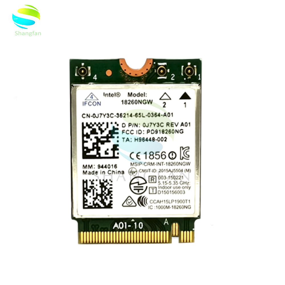 Wireless Card For Intel Tri-band 18260NGW 867M Dual Band 2.4G+5G M.2 Wifi Bluetooth 4.2 For Dell E7470 7270 D P/N 0J7Y3C
