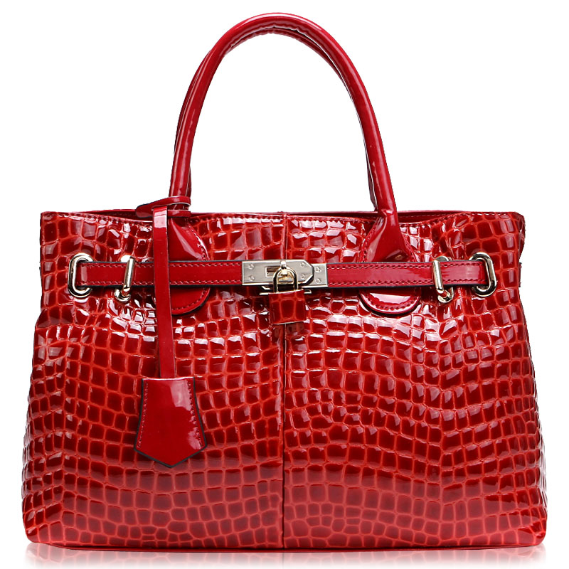 Quality 2015 crocodile pattern japanned leather shiny women's commercial genuine leather handbag professional cowhide bag female