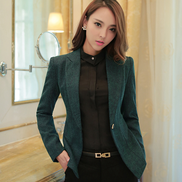 0b1865fb9b4c Fashion Green Women Blazer Casual Wear Jacket Long Sleeve Notched Collar  Coat Feminine Winter Clothes Ladies