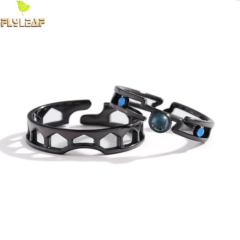 Flyleaf Black Romantic Venice Bridge Crystal Loves Open Rings For Women Men 925 Sterling Silver Couple Jewelry Student Gift