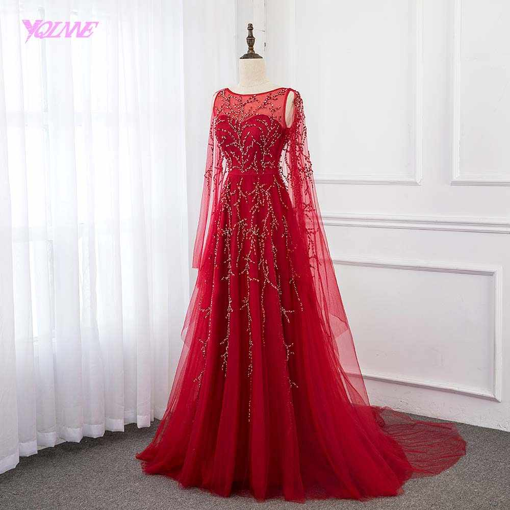 YQLNNE Red Long Evening Dress 2019 Shawl Sleeve Tulle Crystals Evening Gown Dresses Aline