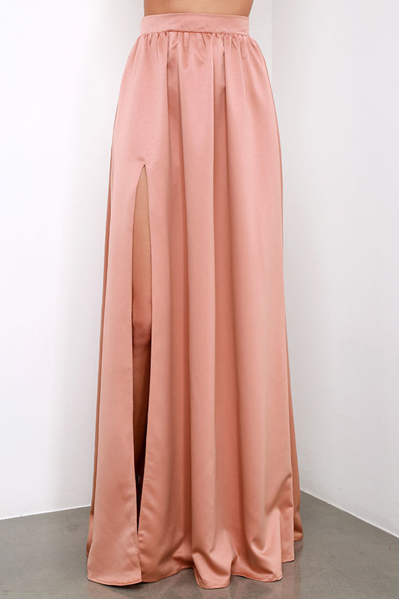 1e3594728 € 27.0 |Abierto Split raso Rosa sólido piso de longitud faldas largas  Womens Vintage Plus Size 6XL 7XL alta cintura A line Maxi fiesta playa  falda ...