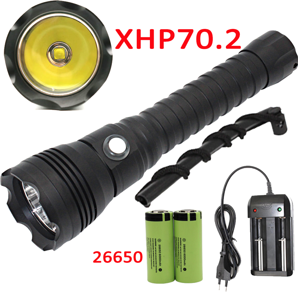 XHP70.2 LED Scuba Diving Flashlight Underwater 100M XHP70 Dive Torch Linterna Waterproof Lamp 26650 Battery +Charger