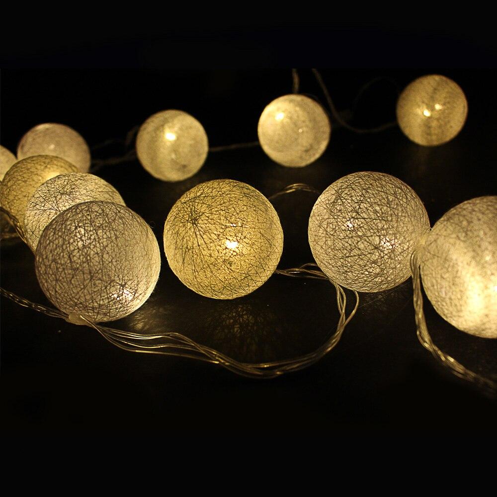 ツ)_/¯Date 5 M 20 Led Fée Coton 6 cm Boule de Lumière de corde De