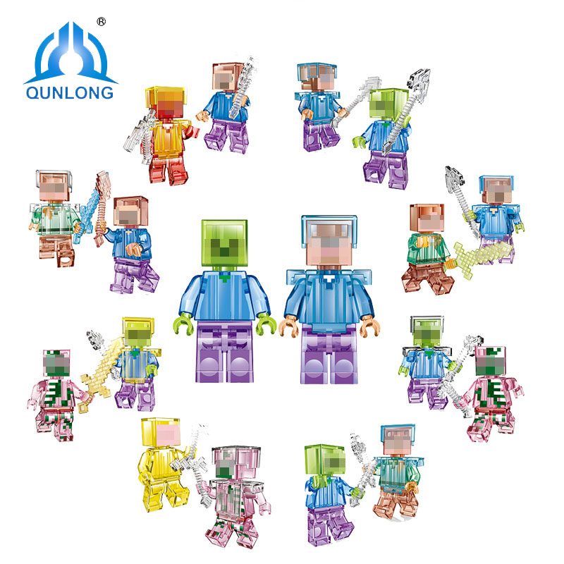 Qunlong Mine World Shadow Action Figures Crystal Steve Skeleton Minecrafted Compatible Legoe City Building Blocks Education Toys qunlong my world yarresse mine building blocks compatible with legoe minecraft city bricks action figures toy for boy girl gift
