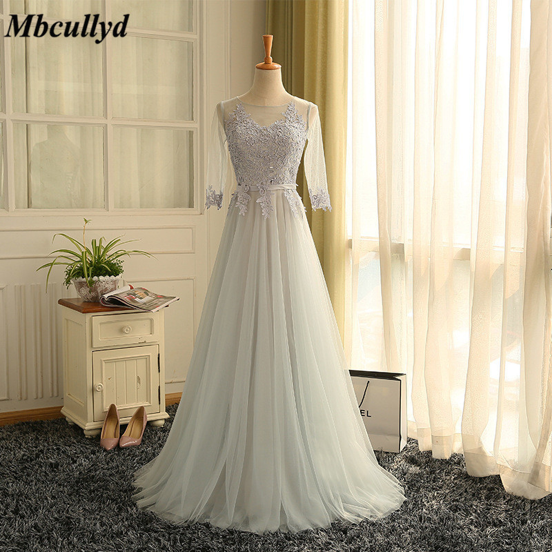 Fashionable A-line Long   Bridesmaid     Dresses   2019 Ruffles Sheer Scoop Neck Maid Of Honor   Dress   Applique Lace Prom For Women