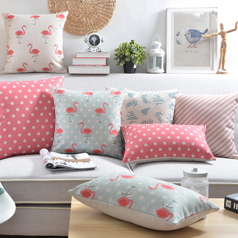 Nordic Cushion Cover Home Decorative Pillow Case Country Style Rustic Pink  Blue Polka Dot Flamingo Couch