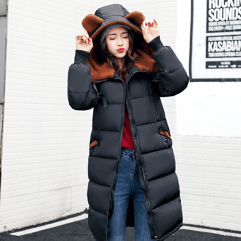 Winter Jacket Women New Female Padded Jacket Thicker Cotton X-Long Jacket Girls Hooded Warm Parkas Hight Quality Coat Outerwear 2017 new winter coat for women slim black solid hooded long warm cotton parkas female thicker zipper red jacket padded