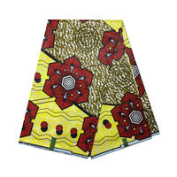 Factory Price Yellow Colour Ankara African Style Super Block Dutch Wax Fabric With Red Flower Parttern