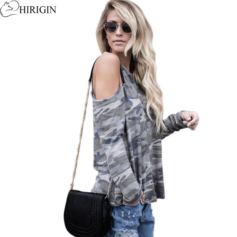 HIRIGIN 2017 Autumn Fashion Women Off Shoulder Blouse Camouflage Long Sleeve Tops Casual Comfortable Shirt Camisa Feminina Blusa