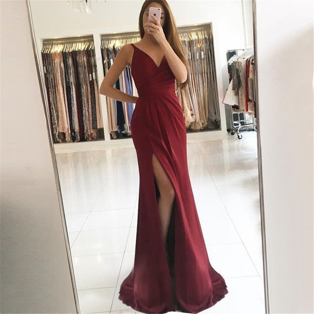 Burgundy Mermaid Evening Dress High Split Sweetheart Spaghetti Strap Elastic Satin Long Prom Gown 2019 Cheap Women Party Dresses