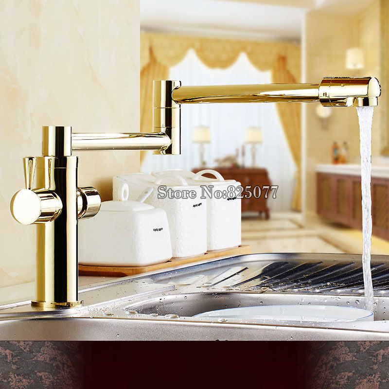Lead-free Universal Faucet Deck Mount Stretch Folding Kitchen Faucet Dual Handle Chrome/Gold Hot and Cold Mixer Tap KF795 силиконовые пленки крышки stretch and fresh