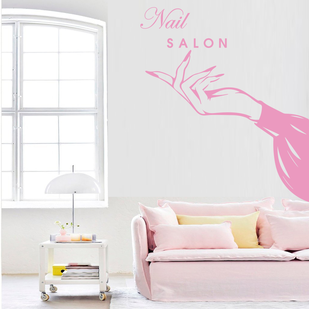 Exquisite Nail Salon Vinyl Wall Stickers Beauty Salon Decor For Girls Bedroom Decoration Mural Shop Window Galss Wallstickers Leather Bag