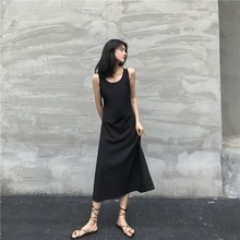 Sexy Women Sleeveless Maxi Dress Summer V-neck Sling Back Cross Long Black Loose