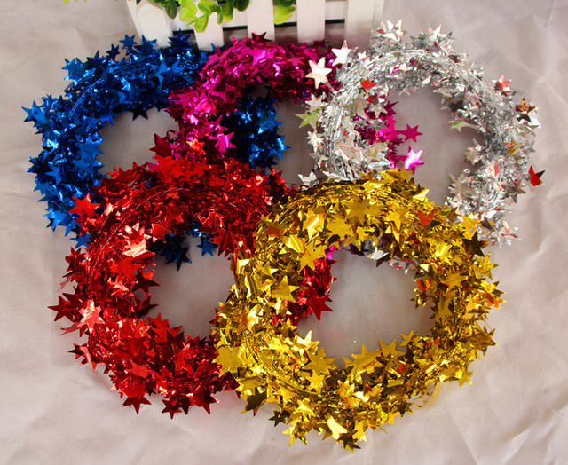 Weihnachtsbaum Rattan.Us 13 99 Lot Weihnachten Baubles Heiße Neue Jahr Indoor Hause Weihnachtsbaum Rattan Girlanden Dekorationen Farbe Bar Stern Draht 7 5 Mt Handwerk