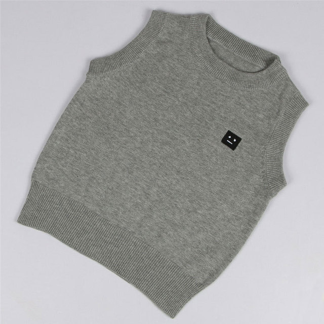 Spring Autumn 100% Boy Sweater European And American Fashion School O-neck Sweater Vest 3 Color For 1-5T Child AS-1575-1