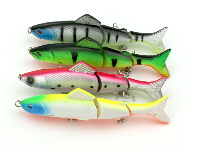 Mix Color Fishing Lures 3 Segments Minnow Swimbait Hard Plastic Lure with Fishing Hook