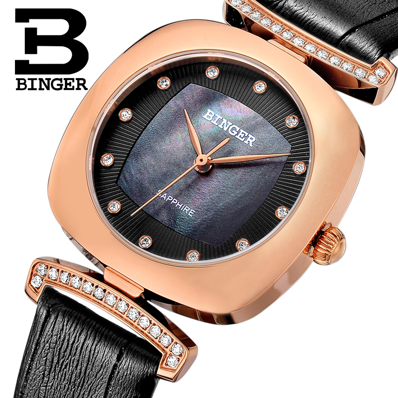 Switzerland Binger Women's watches fashion luxury watch leather strap quartz gold sapphire crystal diamond Wristwatches B1157-3 2017 new binger fashion casual cow leather watches waterproof wristwatches hours for man sapphire orange quartz watch
