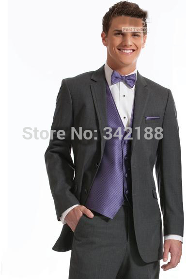 Best best selling Two buttons Charcoal Notch Lapel Groom Tuxedos Groomsmen Men Wedding Suits Prom Clothing /wester suitswedding
