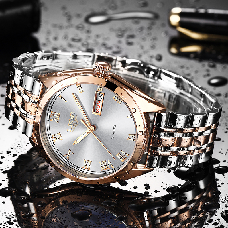 LIGE Fashion Women Watches Ladies Top Brand luxury Waterproof Gold Quartz Watch Women Stainless Steel Date Wear Gift Clock 2019 2