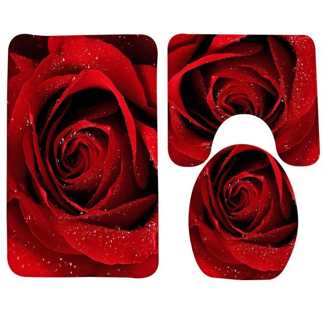 3 Pz Tappetino Da Bagno Set Rosa Modello Tappetino Wc per tre Serie di Bath Mat