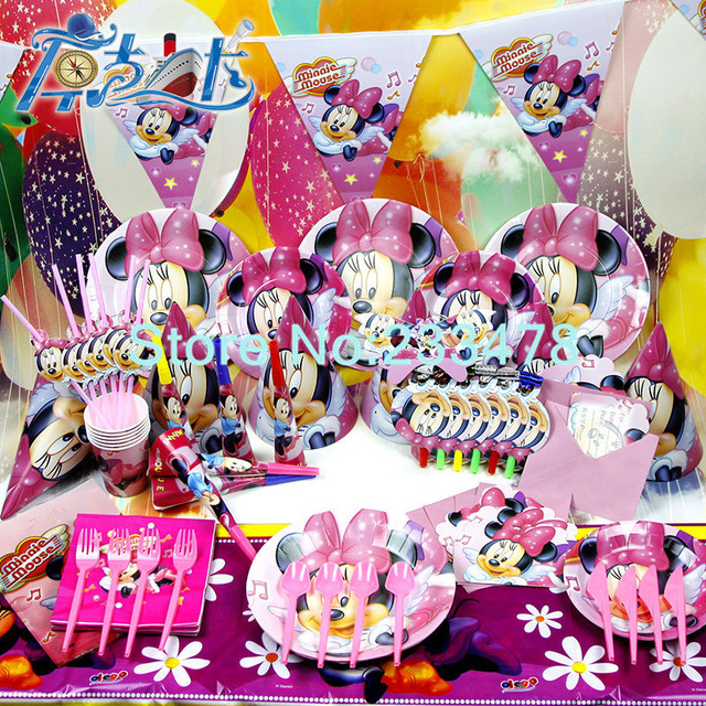New 78pcs Kids Birthday Party Decoration Set Minnie Mouse Theme Supplies Baby Pack AW 1605
