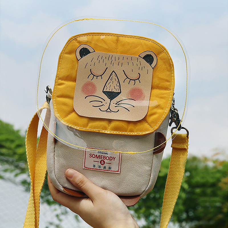 Angelatracy 2019 New Arrival Lion Canvas Cute Phone Small Cartoon Children Day Gift Yellow Zipper Bag Crossbody Messenger Bag in Top Handle Bags from Luggage Bags