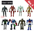 (8 unids/set) 100% figura de acción real steel Twin Cities Midas Zeus Noisy Boy atom Emboscada Metro boys toys