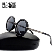 2016 retro fashion Big round sunglasses women brand designer Luxury polarized uv400 high quality sun glasses men mirror with box