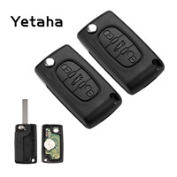 Yetaha 2pcs Remote Key 3 Buttons 433MHz Car Remtekey For Peugeot Citroen C2 C3 C4 C5 PCF7941 Chip HU83 Uncut Blade CE0523