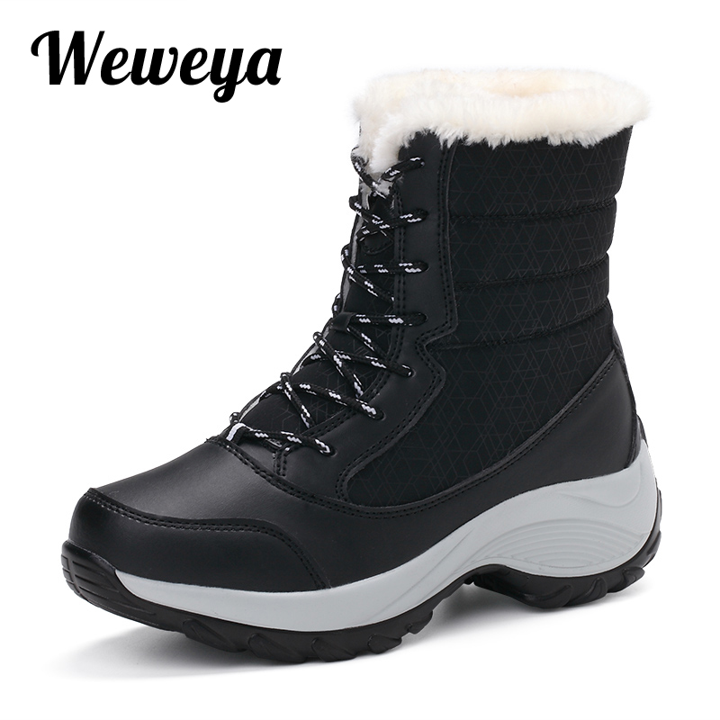 Weweya Size 41 Waterproof Female Snow Boot Winter Boots Sneaker Thick Bottom Platform Ankle Boots for Women Warm Fur Shoes Woman