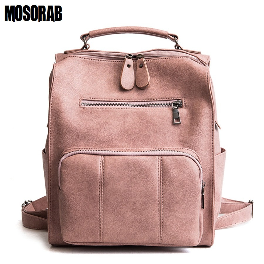 MOSORAB Women Leather Backpack Female Teenage Girls School Backpacks Vintage Large Solid Shoulder Bag Multifunction Mochila 33cm women backpack oil wax cow genuine leather backpack for teenage girls school large capacity shoulder bag brown tote mochila