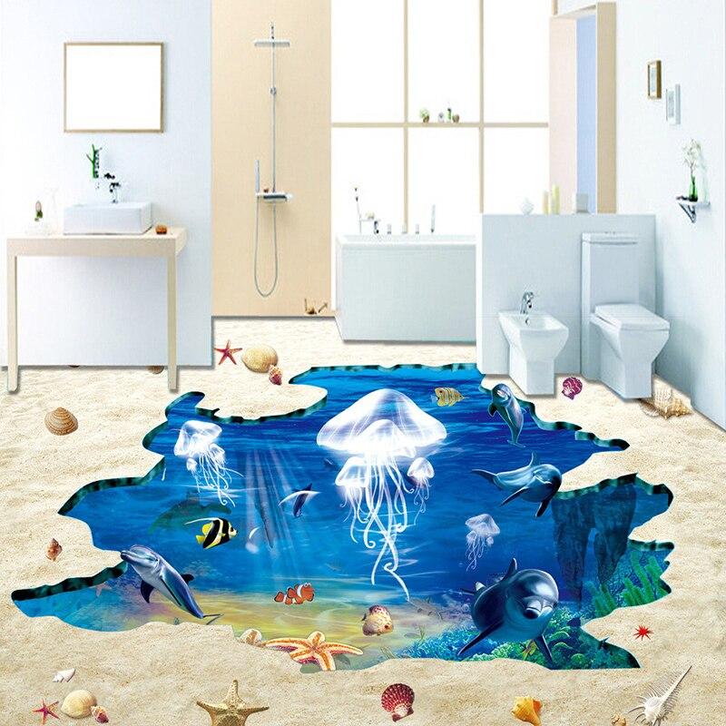 Custom Pvc Self Adhesive Floor Mural Wallpaper Ocean
