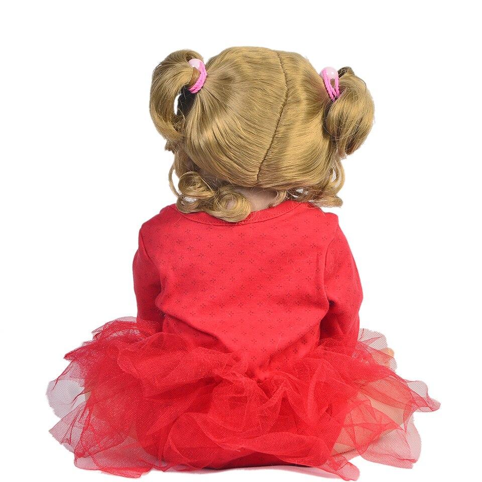 새로운 도착 22 인치 reborn 인형 전체 실리콘 바디 55 패션 현실적인 공주 장난감 아기 인형 아이 생일 선물 골드 헤어-에서인형부터 완구 & 취미 의  그룹 3