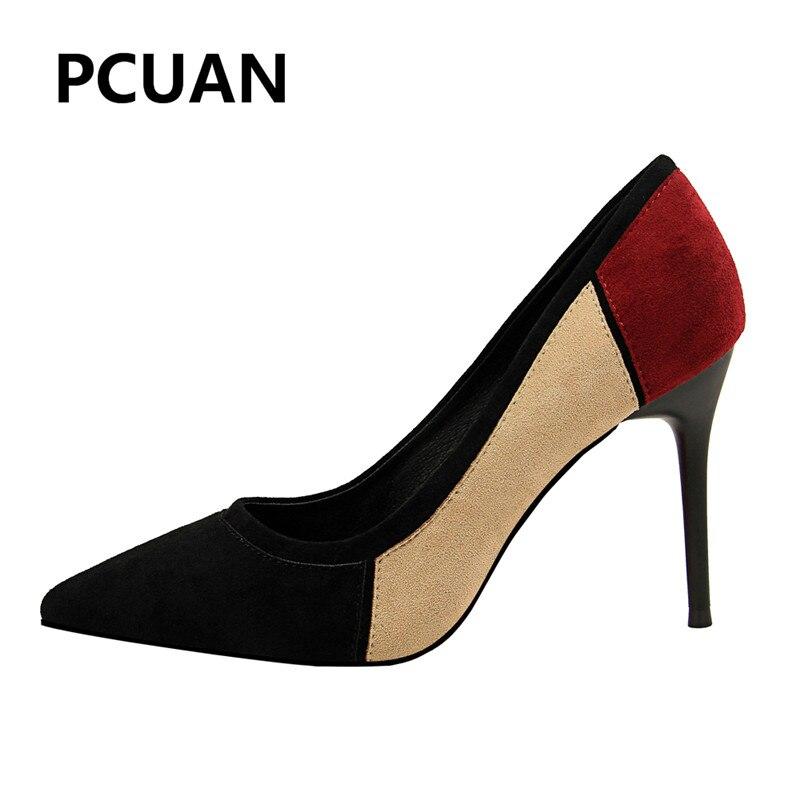 5 Chaussures Peu Hauts Discothèques 3 2018 À De Bouche 1 2 Mode 4 Mince Couleur Sexy Profonde Pointu Nouveau Daim Talons 6 Femmes Y76bfgy