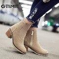 Gtime outono áspero fêmea calcanhar grosso zíper lateral botas de couro genuíno nubuck couro moda ankle boot martin botas das mulheres # zws40