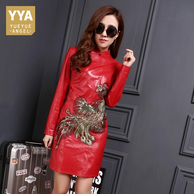 High Quality Brand Female Dress Chinese Style Vintage Embroidery Dress Womens Luxury Slim Fit Genuine Leather Dress Plus Size