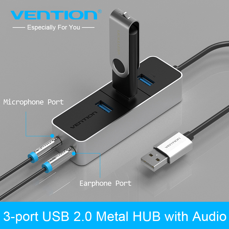 vention usb hub usb 2 0 to usb 2 0 3 port with audio interface adapter sound card for macbook pc. Black Bedroom Furniture Sets. Home Design Ideas