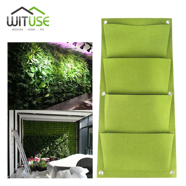Wituse 4 Pockets Grow Bags Outdoor Vertical Greening Hanging Wall