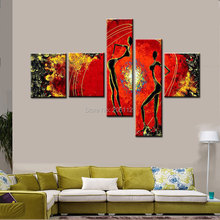 100% handmade oil painting on canvas red decorative pictures africa women abstract large home decor multi panels wall art