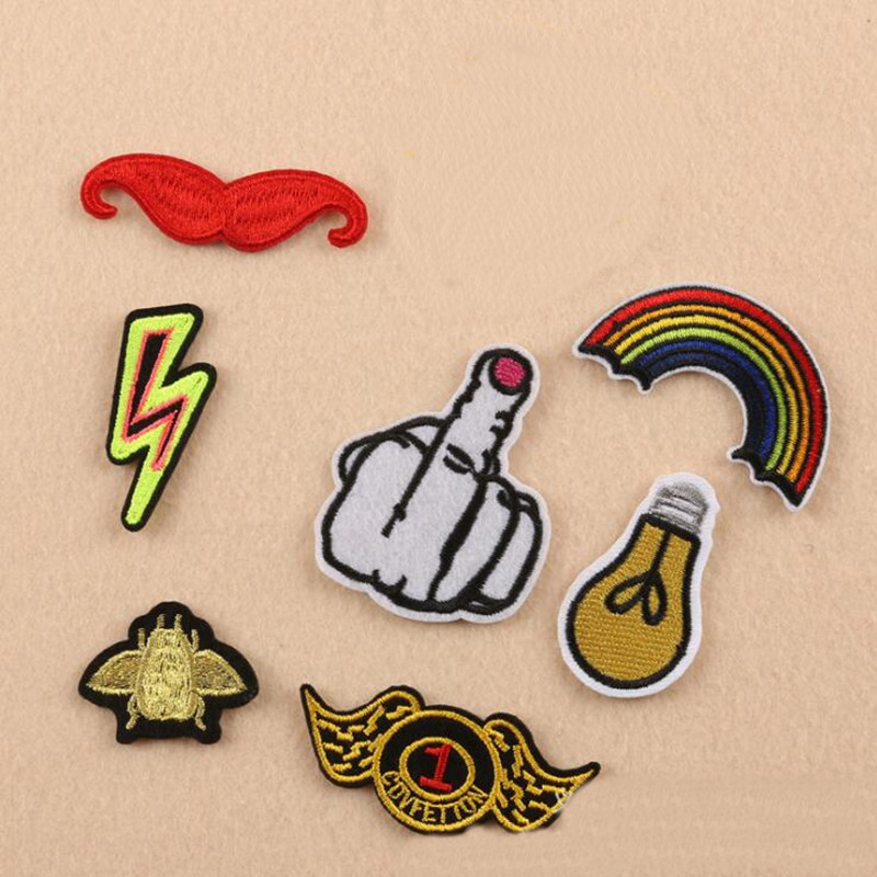 Carton Finger Badge Repair Patch Embroidered Iron On Patches For Clothing Close Shoes Bags Badges Embroidery DIY