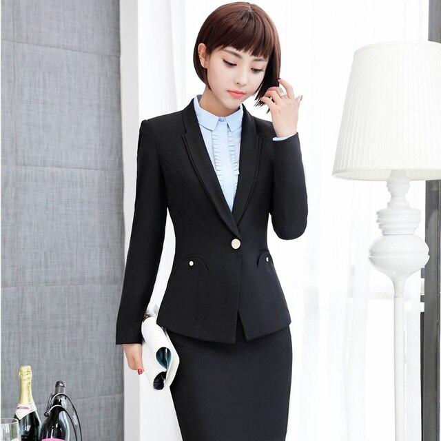 ae9a75e45f0cfc Neuheit Schwarz Slim Fashion Formal Blazer Rock Anzüge Für Damen Büro  Arbeit Tragen Jacken Und Rock