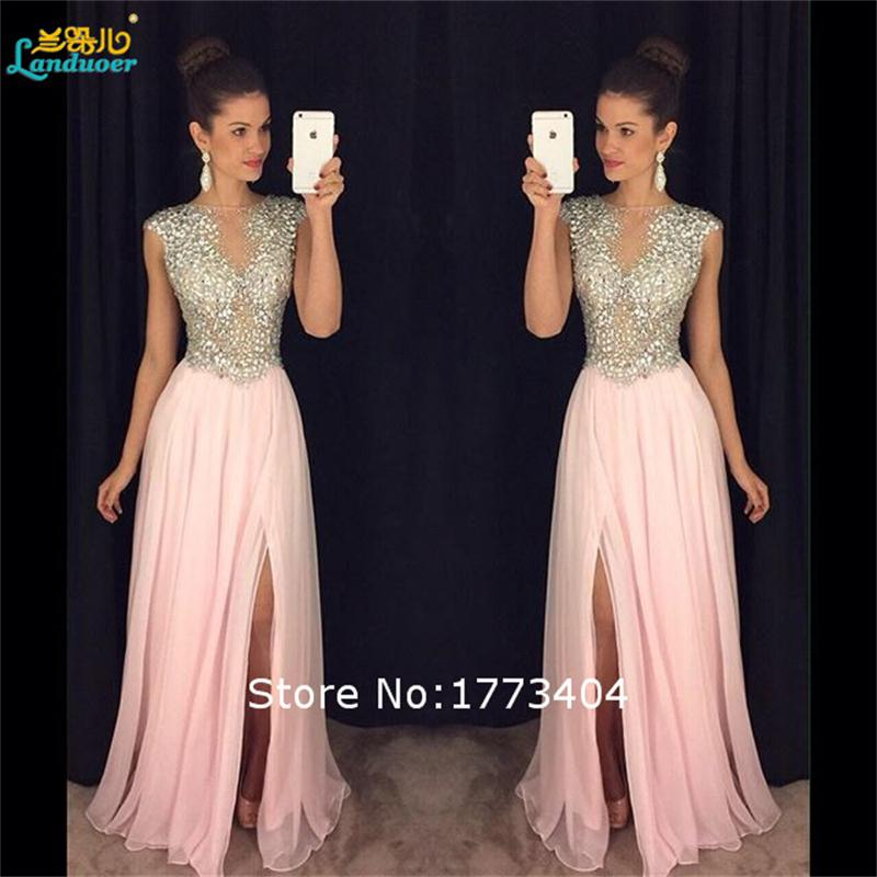 e8c1a8cc5262c US $158.69 |2017 Sparkling Beaded Side Slit Pink Evening Dresses vestidos  de festa Formal Party Gowns Custom Made Made Plus Size Handwork-in Evening  ...
