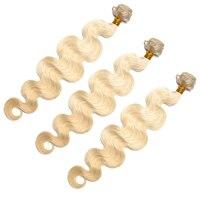 Бразильский объемная волна 3 Связки 613 блондинка Пряди человеческих волос для наращивания 100% Remy Инструменты для завивки волос sunny queen продук