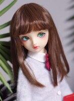 BJD doll wigs straight bang dark brown long straight hair wigs for 1/6 BJD YOSD doll Imitation mohair doll accessories