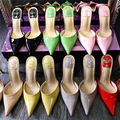 Trendy Candy Color Patent Leather Pointed Toe High Heel Sandal Fashion Woman Summer Thin Heel Shoes