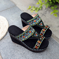 Women's Wedge Platform Summer Sandalias Genuine Leather Open Toe Ethnic Bohemia Style Retro Embroidery Sandals Shoes for Women