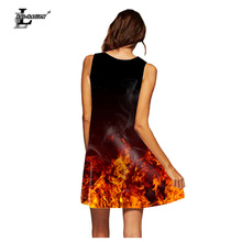 Lei-SAGLY Women 3D Digital Printed Flame Pattern Sexy Round Neck Sleeveless Loose Spring and Summer Short Dress